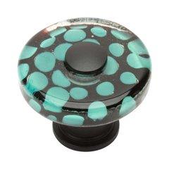 Glass 1-1/2 Inch Diameter Matte Black Cabinet Knob <small>(#3227-BL)</small>