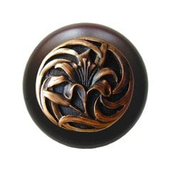 Floral 1-1/2 Inch Diameter Antique Copper Cabinet Knob <small>(#NHW-703W-AC)</small>