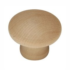 "Natural Woodcraft Knob 1-1/4"" Dia Unfinished Wood"