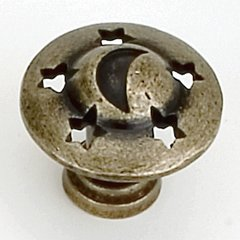 Celestials 1-1/4 Inch Diameter Antique Brass Cabinet Knob <small>(#13905)</small>