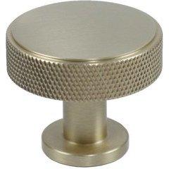 Diamond Knurling 1-3/8 Inch Diameter Cabinet Knob - Satin Brass