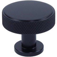 Diamond Knurling 1-3/8 Inch Diameter Cabinet Knob - Matte Black