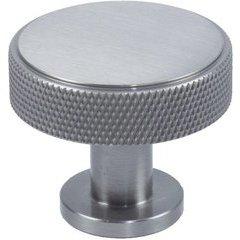 Diamond Knurling 1-3/8 Inch Diameter Cabinet Knob - Matte Satin Nickel
