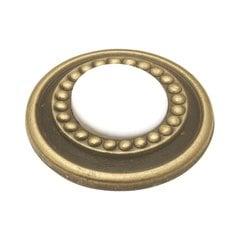 Cavalier 1-1/4 Inch Diameter Antique Brass & White Cabinet Knob <small>(#P953-W)</small>