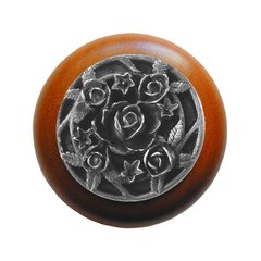Floral 1-1/2 Inch Diameter Antique Pewter Cabinet Knob <small>(#NHW-726C-AP)</small>