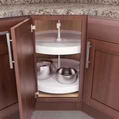 V Susan 24 inch Full Round Lazy Susan 2 Tray <small>(#FT-2421WH)</small>