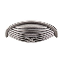 Edwardian 3 Inch Center to Center Pewter Antique Cabinet Cup Pull <small>(#M938)</small>
