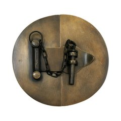 "Simple Round Latch with Chain 4-1/4"" Dia - Antique Brass"
