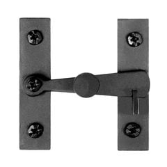 "Smooth Iron Flush Cabinet Latch 2-5/8"" High Black Iron"