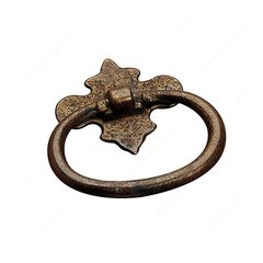 Art Deco 1-1/4 Inch Center to Center Spotted Bronze Cabinet Ring Pull <small>(#BP48332138)</small>