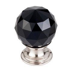 Crystal 1-1/8 Inch Diameter Black Crystal Cabinet Knob <small>(#TK115BSN)</small>