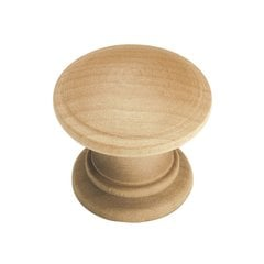"Natural Woodcraft Footed Knob 1-1/4"" Dia Unfinished Wood"