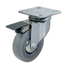 Rubber Caster With Swivel & Brake - Grey