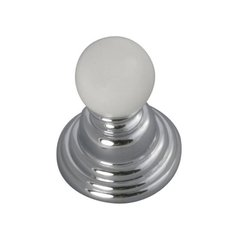 Gaslight 15/16 Inch Diameter Chrome With White Cabinet Knob