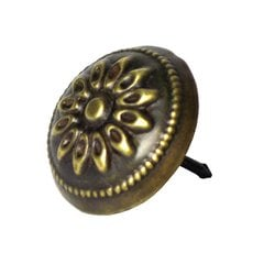 "Carved Floral Clavo 1"" Dia - Antique Brass"