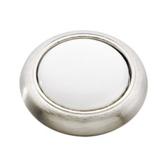 Tranquility 1-3/16 Inch Diameter Satin Nickel with White Cabinet Knob <small>(#P709-SNW)</small>