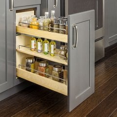 No Wiggle 8 Inch Drawer Base Cabinet Pullout with Soft-Close Undermount Slides