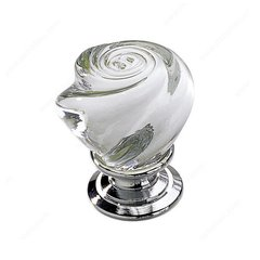 Classic Glass 1-3/16 Inch Diameter Chrome,Clear Cabinet Knob <small>(#903014011)</small>