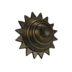 Large Carved Star Clavo 2 inch Diameter - Antique Brass