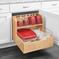 "Food Storage Container Organizer 24"" Wood"