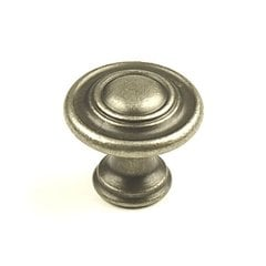 Baroque 1-3/8 Inch Diameter Aged Pewter Cabinet Knob