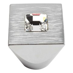 Boutique Crystal 1 Inch Diameter Matte Chrome Cabinet Knob <small>(#3195-MC)</small>