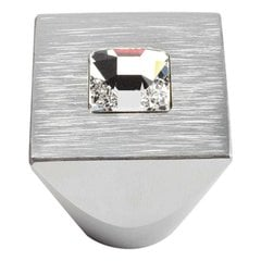 Boutique Crystal 1 Inch Diameter Matte Chrome Cabinet Knob