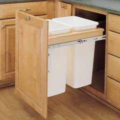 Double Trash Pullout 50 Quart-Wood <small>(#4WCTM-2150DM-2)</small>