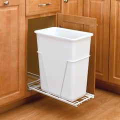 Single Full Extension Trash Pullout 30 Quart-White <small>(#RV-9PB-S)</small>