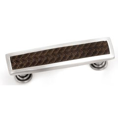 Churchill 3-3/4 Inch Center to Center Satin Nickel/Brown Leather Cabinet Pull
