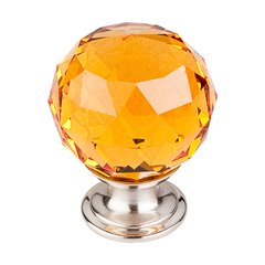Crystal 1-3/8 Inch Diameter Amber Crystal Cabinet Knob