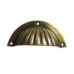 Bin Pulls 3 Inch Center to Center Unlacquered Antique Brass Cabinet Cup Pull <small>(#HBP7014)</small>