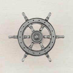 """Ship's Wheel Knob 1-3/4"""" Dia Antique Pewter"""