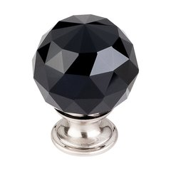 Crystal 1-3/8 Inch Diameter Black Crystal Cabinet Knob
