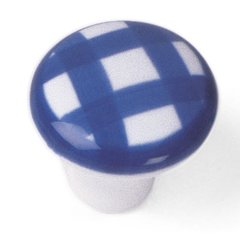 Sorrento 1-1/2 Inch Diameter Tattersall's Navy Cabinet Knob <small>(#08803)</small>