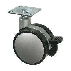 Slim Twin Wheel Caster with Swivel and Brake - Silver