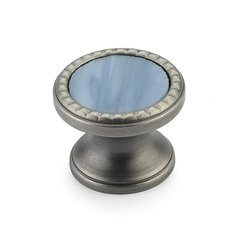 "Kingsway Round Knob 1-1/4"" Dia Antique Nickel/Glacier Blue <small>(#20-AN-GB)</small>"