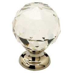Fire 1-1/8 Inch Diameter Clear Crystal/Polished Nickel Cabinet Knob