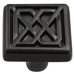 Celtic Square Knob 1-1/4 inch Diameter Matte Black