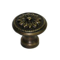 Knobs 1 Inch Diameter Unlacquered Antique Brass Cabinet Knob