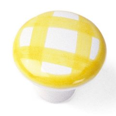 Sorrento 1-1/2 Inch Diameter Tattersall's Yellow Cabinet Knob <small>(#08801)</small>
