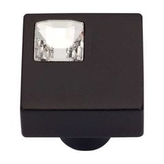 Boutique Crystal 1 Inch Diameter Matte Black Cabinet Knob