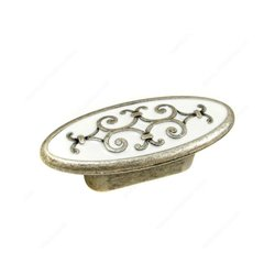 Art Deco 1-1/4 Inch Center to Center Faux Iron Cabinet Pull <small>(#2413432904)</small>