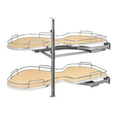 Cloud 21 inch Double Tier Blind Corner Organizer Right Hand Maple