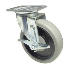 Thermoplastic Rubber Caster with Swivel and Brake - Grey