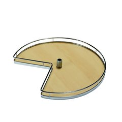 "Kessebohmer 3/4 Round Kidney Tray Set 28"" Chrome/Maple 541.11.112"
