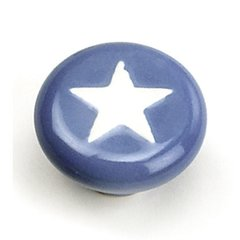 Porcelain Knobs 1-3/8 Inch Diameter Blue With White Star Cabinet Knob <small>(#01850)</small>