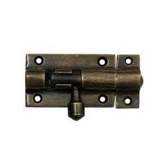 Small Cylinder Surface Bolt 2-7/8 inch L - Antique Brass