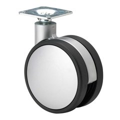 Slim Twin Wheel Caster With Swivel - Silver