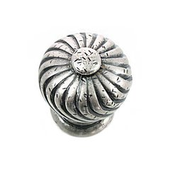 French Twist 1-1/4 Inch Diameter Antique Pewter Cabinet Knob <small>(#83964)</small>